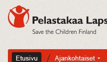 Image of my design for Save the Children Finland Organization